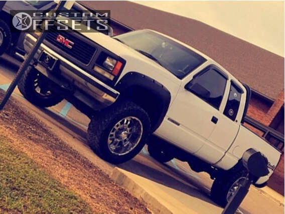 """1998 GMC K2500 Aggressive > 1"""" outside fender on 20x10 -24 offset Diamo 17 Karat and 33""""x12.5"""" Federal Couragia Mt on Body Lift 3"""" - Custom Offsets Gallery"""