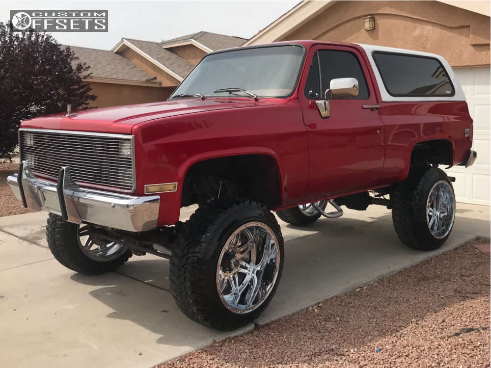 """1983 Chevrolet K5 Blazer Super Aggressive 3""""-5"""" on 22x14 -76 offset Fuel Hostage and 35""""x12.5"""" Road One Cavalry M/T on Suspension Lift 6"""" - Custom Offsets Gallery"""