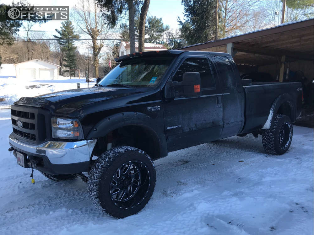 """2001 Ford F-250 Super Duty Slightly Aggressive on 22x12 -44 offset Fuel Triton and 35""""x12.5"""" Atturo Trail Blade Mt on Suspension Lift 4"""" - Custom Offsets Gallery"""