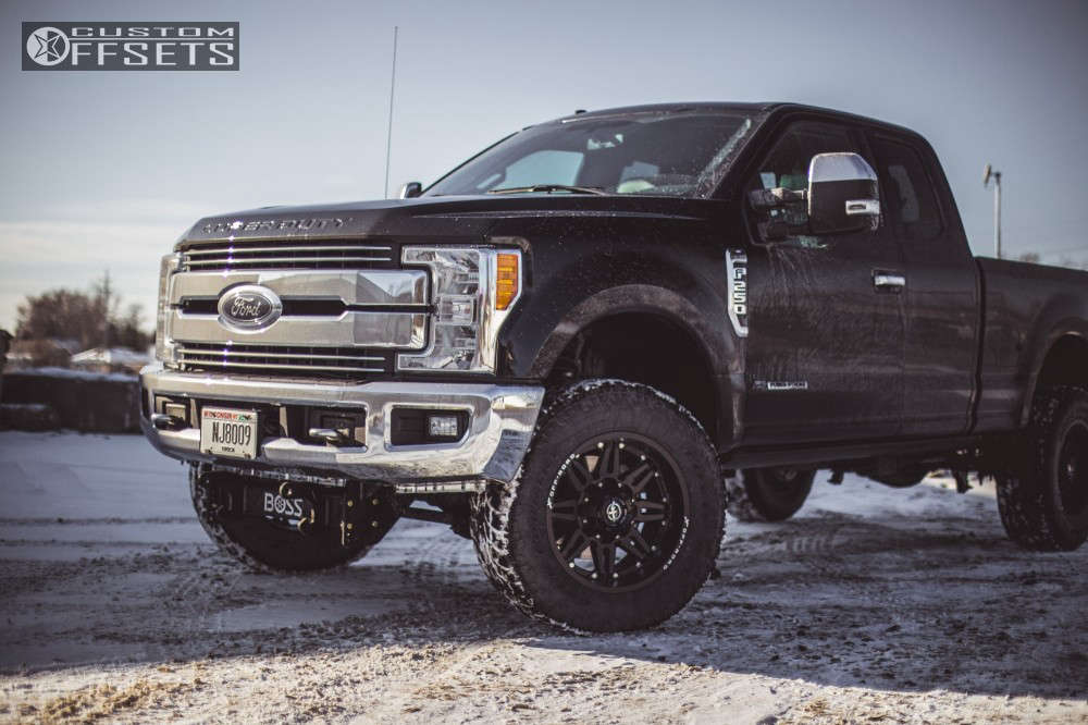 """2017 Ford F-250 Super Duty Slightly Aggressive on 20x10 -24 offset XF Offroad Xf-204 and 295/65 Toyo Tires Open Country A/t Ii on Suspension Lift 2.5"""" - Custom Offsets Gallery"""