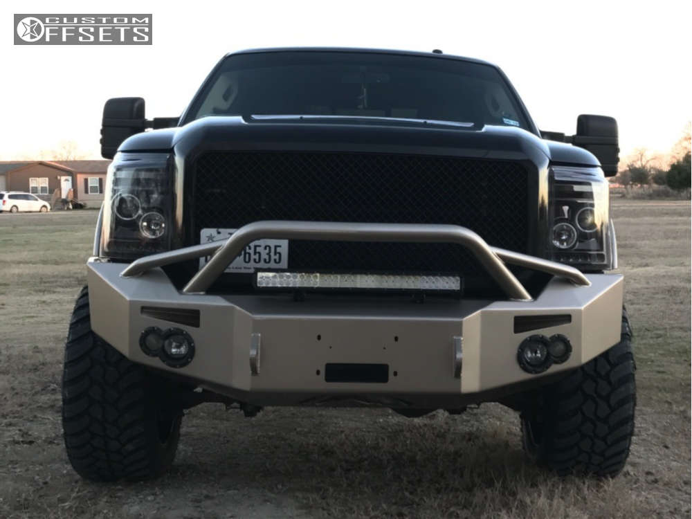 """2011 Ford F-250 Super Duty Aggressive > 1"""" outside fender on 22x12 -44 offset RBP Glock and 325/50 Amp Mud Terrain Attack MT A on Suspension Lift 3"""" - Custom Offsets Gallery"""
