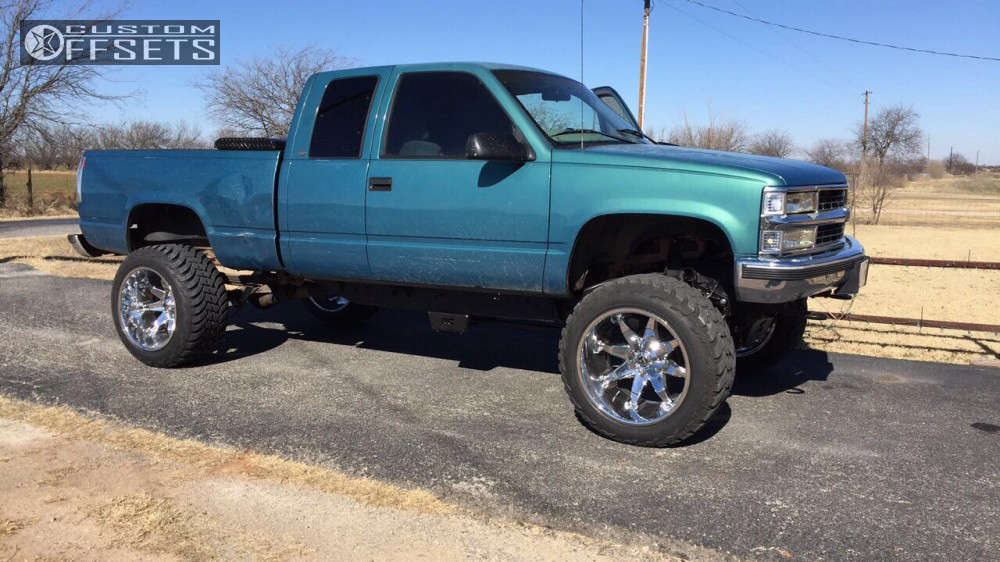 """1997 Chevrolet K1500 Super Aggressive 3""""-5"""" on 22x14 -76 offset Fuel Octane & 325/50 AMP Mud Terrain Attack MT A on Suspension Lift 6"""" & Body 3"""" - Custom Offsets Gallery"""