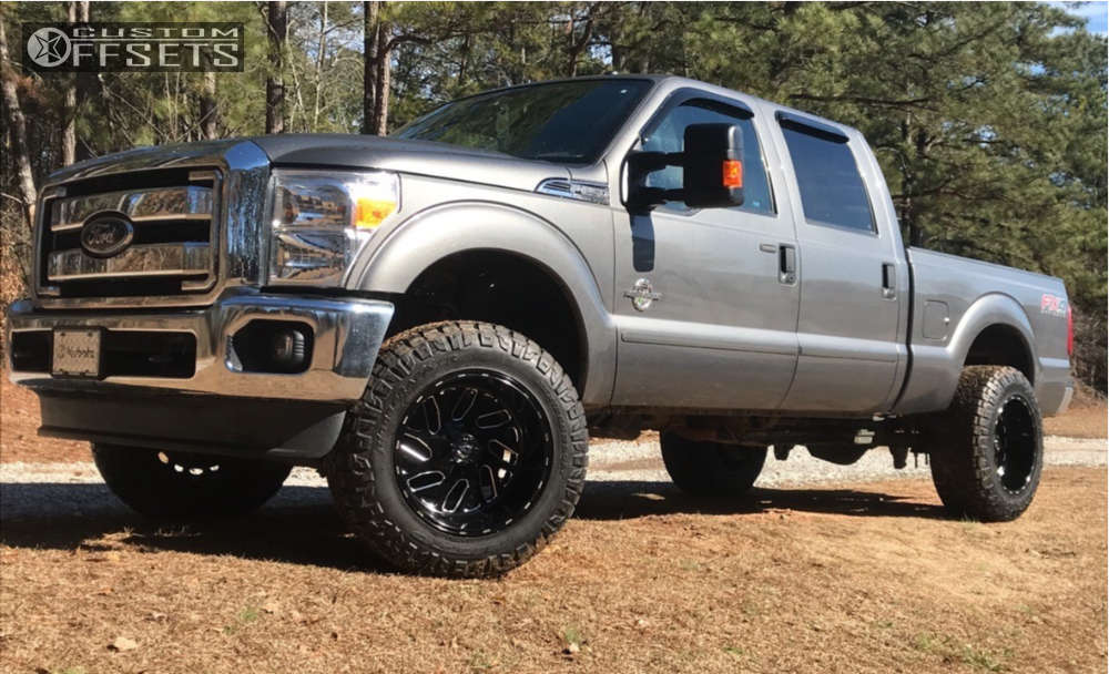 """2014 Ford F-250 Super Duty Super Aggressive 3""""-5"""" on 20x12 -43 offset Fuel Triton and 35""""x12.5"""" Nitto Ridge Grappler on Leveling Kit - Custom Offsets Gallery"""