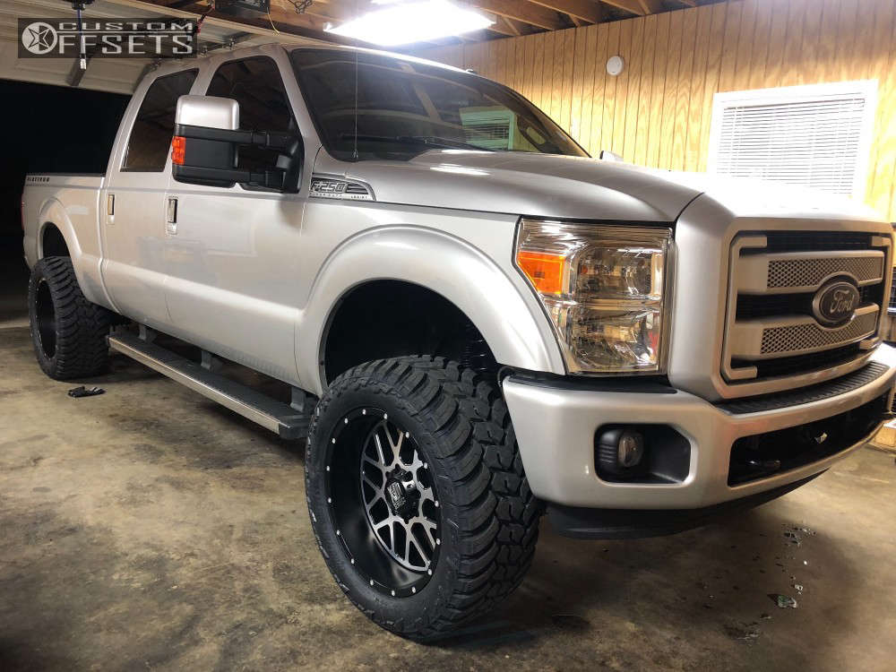 2014 Ford F-250 Super Duty Slightly Aggressive on 22x10 -24 offset XD Xd820 and 325/50 AMP Mud Terrain Attack MT A on Leveling Kit - Custom Offsets Gallery