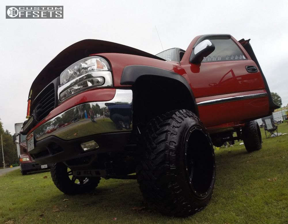"""2002 GMC Sierra 1500  on 20x14 -76 offset Fuel Hostage and 35""""x12.5"""" Atturo Trail Blade MT on Suspension Lift 9"""" - Custom Offsets Gallery"""