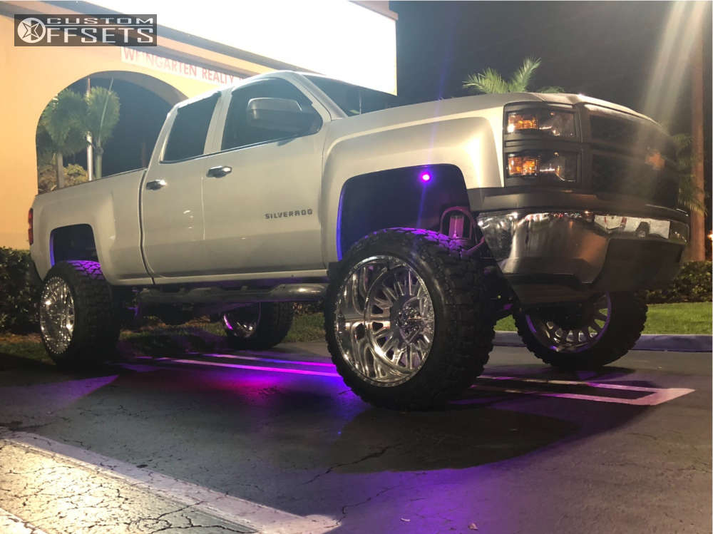 """2015 Chevrolet Silverado 1500 Hella Stance >5"""" on 24x14 -73 offset American Force Habit Ss & 37""""x13.5"""" Fury Offroad Country Hunter Mt on Suspension Lift 9.5"""" - Custom Offsets Gallery"""