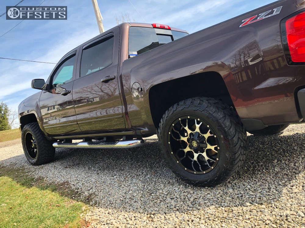 "2016 Chevrolet Silverado 1500 Aggressive > 1"" outside fender on 20x10 -25 offset Mayhem Warrior & 305/55 AMP Mud Terrain Attack MT A on Leveling Kit - Custom Offsets Gallery"