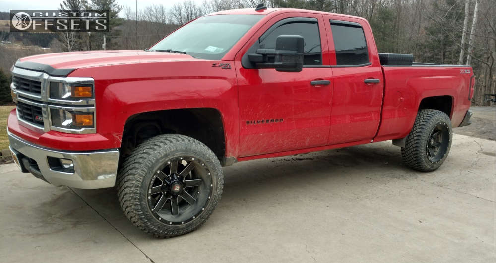 "2014 Chevrolet Silverado 1500 Aggressive > 1"" outside fender on 20x12 -44 offset Ballistic Rage & 33""x12.5"" Atturo Trail Blade Xt on Leveling Kit - Custom Offsets Gallery"