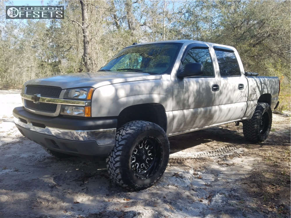 """2005 Chevrolet Silverado 1500 Super Aggressive 3""""-5"""" on 20x10 -18 offset Fuel Stroke & 35""""x12.5"""" Toyo Tires Open Country M/T on Suspension Lift 7"""" - Custom Offsets Gallery"""