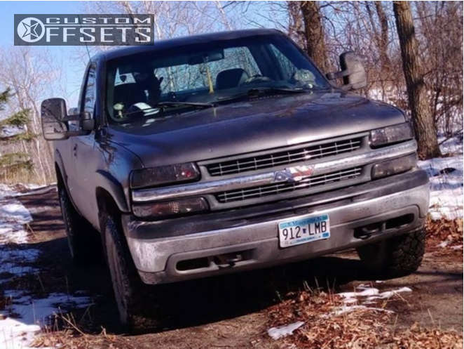 "1999 Chevrolet Silverado 1500 Slightly Aggressive on 16x8 -12 offset Vision D Window & 265/75 Kelly Safari Tsr on Suspension Lift 3"" - Custom Offsets Gallery"