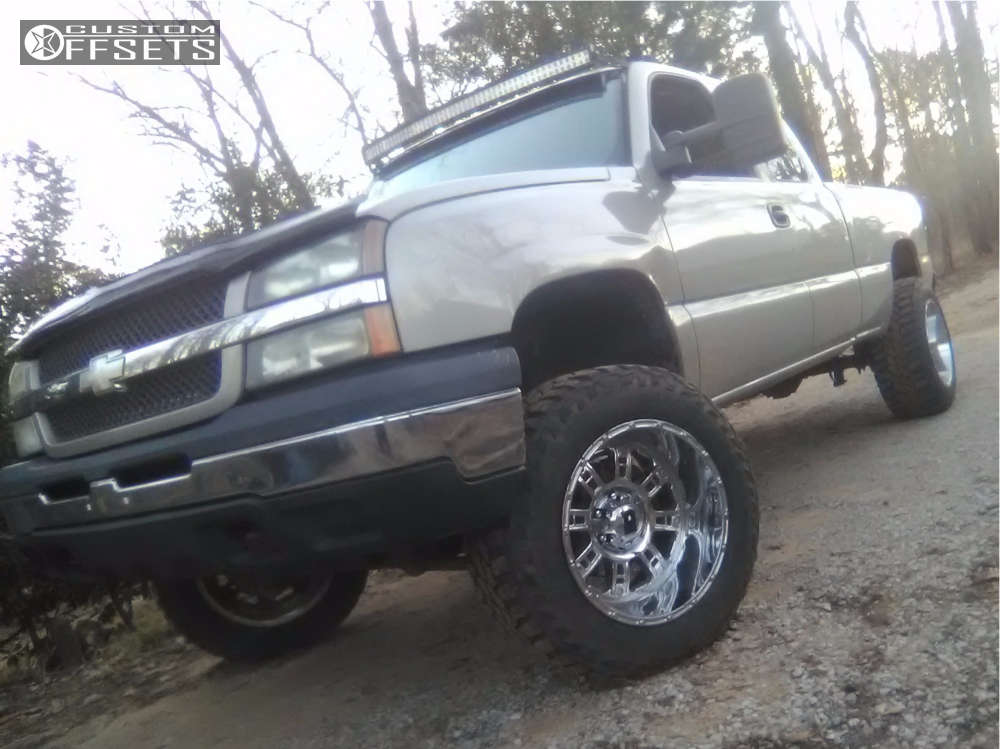 """2006 Chevrolet Silverado 1500 Aggressive > 1"""" outside fender on 20x12 -44 offset XD Riot and 35""""x12.5"""" Federal Couragia Mt on Suspension Lift 6"""" - Custom Offsets Gallery"""