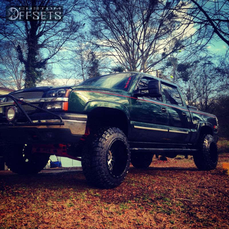 """2005 Chevrolet Silverado 1500 Hella Stance >5"""" on 20x14 -76 offset XD Riot & 35""""x12.5"""" Toyo Tires Open Country M/T on Suspension Lift 9"""" - Custom Offsets Gallery"""