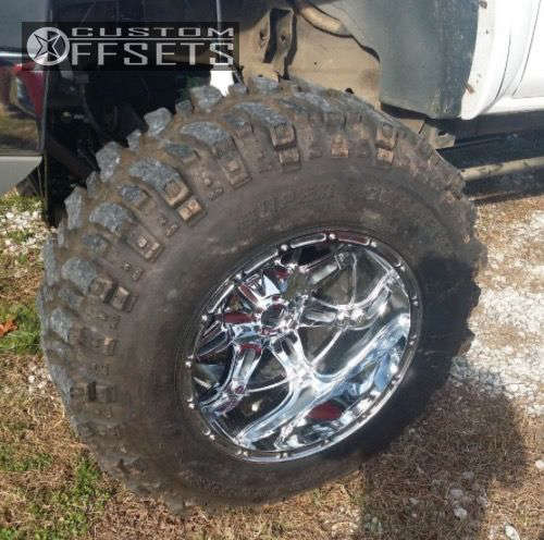 """2005 Chevrolet Silverado 2500 HD Hella Stance >5"""" on 20x14 -76 offset Fuel Hostage and 37""""x12.5"""" Super Swamper Ssr on Lifted >9"""" - Custom Offsets Gallery"""