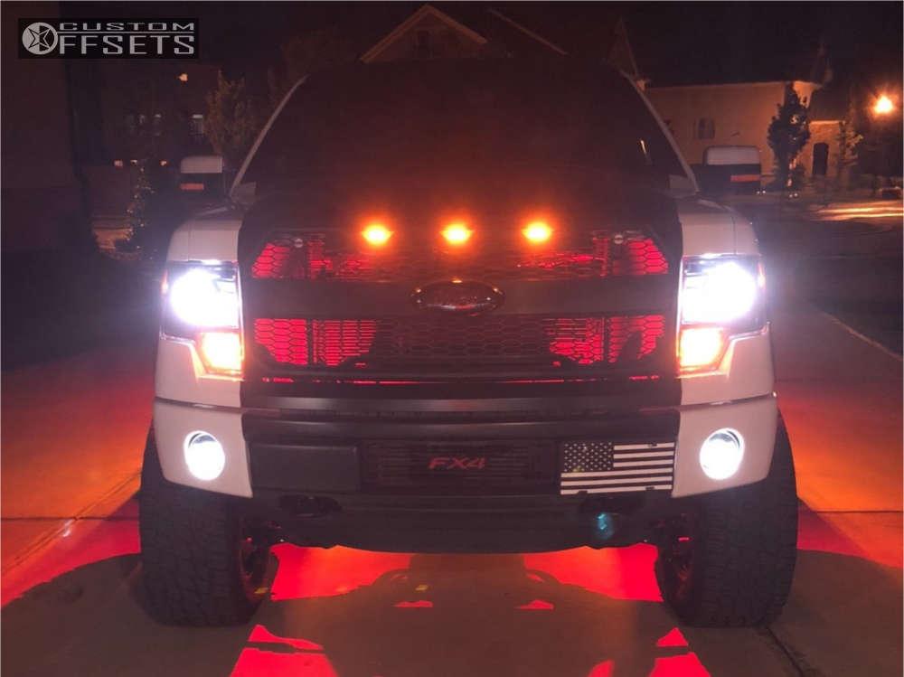 "2014 Ford F-150 Aggressive > 1"" outside fender on 20x10 -24 offset Havok H110 & 35""x12.5"" Nitto Terra Grappler G2 on Suspension Lift 7.5"" - Custom Offsets Gallery"