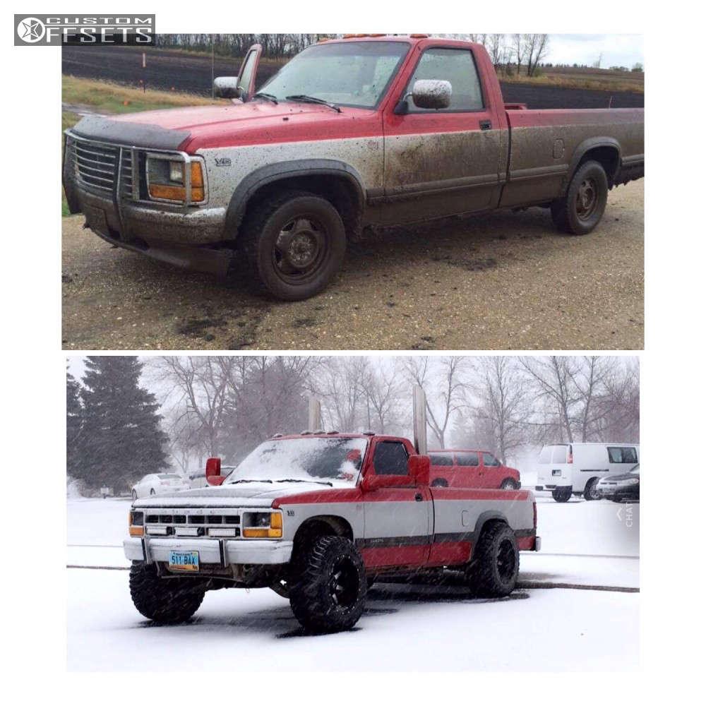 "1991 Dodge Dakota Hella Stance >5"" on 18x12 -44 offset Fuel Maverick & 305/60 Mickey Thompson Baja Mtz P3 on Stock Suspension - Custom Offsets Gallery"