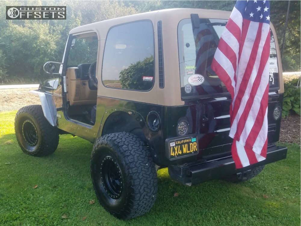 """1997 Jeep Wrangler Hella Stance >5"""" on 15x8 -24 offset Method Double Standard and 33""""x12.5"""" BFGoodrich All Terrain TA KO2 on Leveling Kit - Custom Offsets Gallery"""