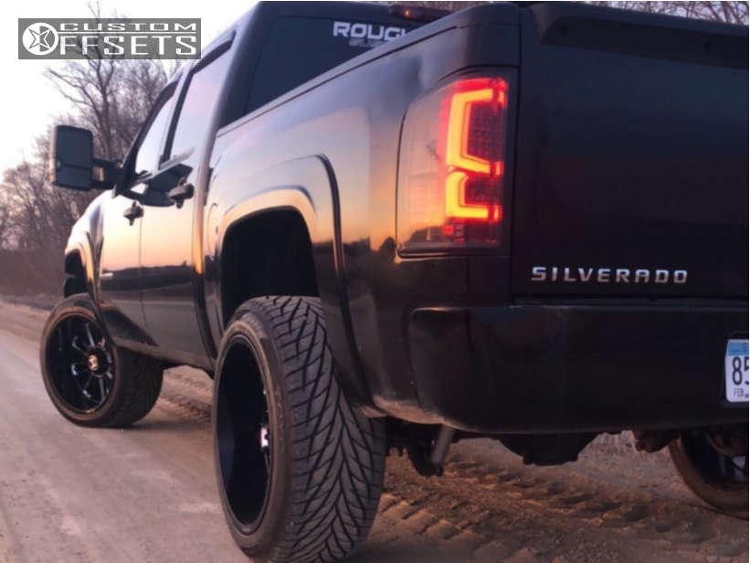 "2010 Chevrolet Silverado 1500 Super Aggressive 3""-5"" on 22x12 -44 offset Hostile Predator & 305/45 Toyo Tires Proxes S/t on Suspension Lift 3.5"" - Custom Offsets Gallery"