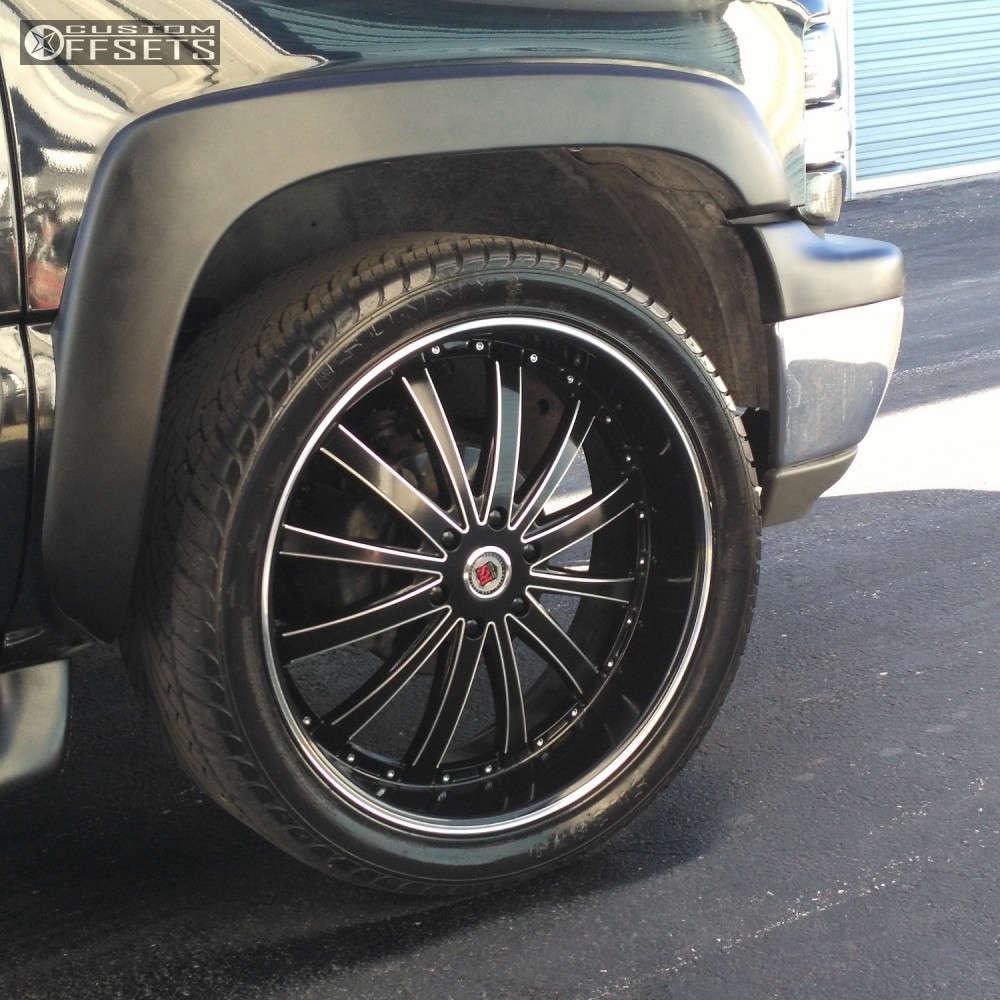"2002 Chevrolet Tahoe Flush on 24x9.5 13 offset Red Sport Rsw77-m & 305/12.5 Sunny Eco Sendero Mt on Level 2"" Drop Rear - Custom Offsets Gallery"