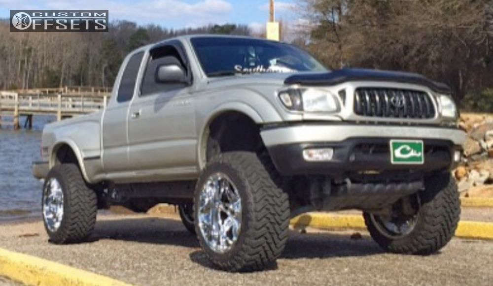 """2002 Toyota Tacoma Slightly Aggressive on 20x12 -44 offset Fuel Hostage and 33""""x12.5"""" Atturo Trail Blade Mt on Leveling Kit & Body Lift - Custom Offsets Gallery"""