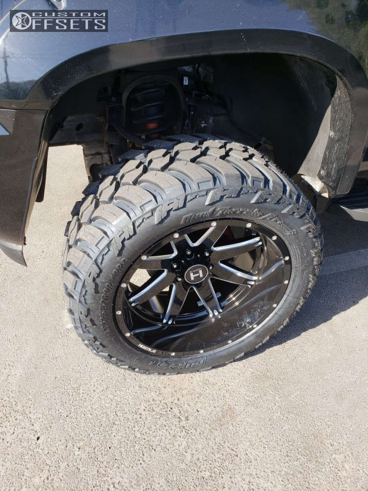"""2007 Chevrolet Avalanche Super Aggressive 3""""-5"""" on 22x12 -44 offset Hostile Alpha & 325/50 AMP Mud Terrain Attack MT A on Suspension Lift 6"""" - Custom Offsets Gallery"""