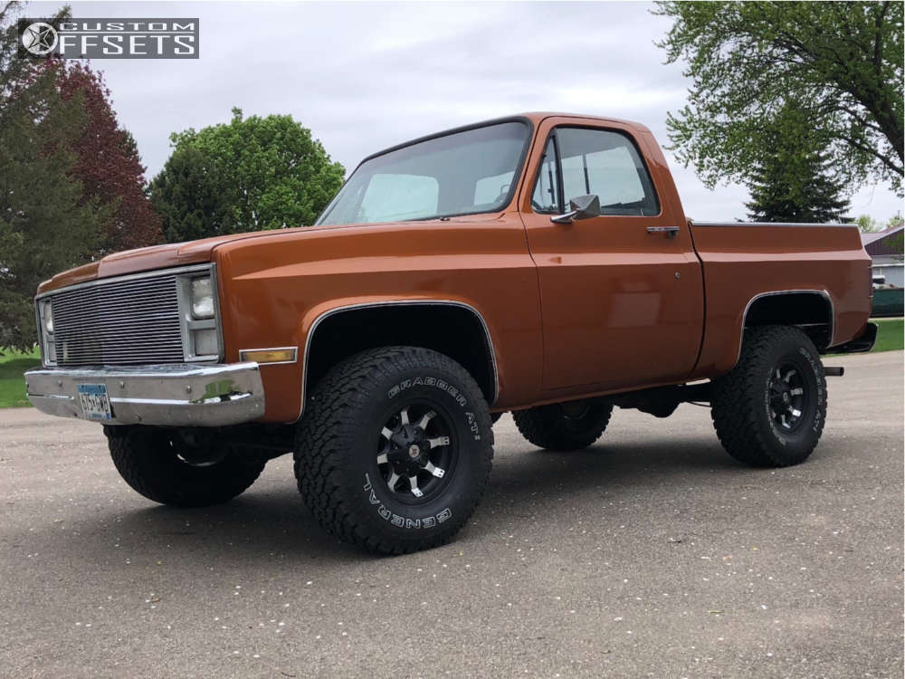 """1984 Chevrolet K10 Pickup Slightly Aggressive on 15x8.5 -19 offset American Outlaw Deputy and 33""""x12.5"""" General Grabber on Suspension Lift 3"""" - Custom Offsets Gallery"""