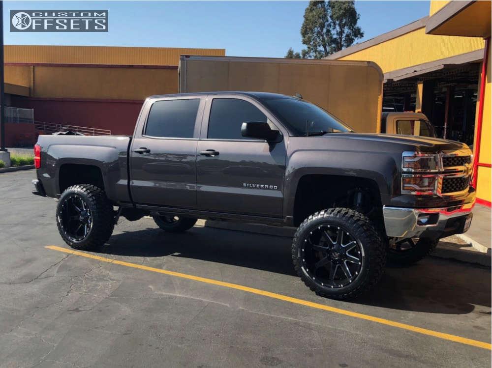 "2014 Chevrolet Silverado 1500 Aggressive > 1"" outside fender on 22x12 -44 offset Kx Kx01 & 35""x12.5"" Comforser Cf3000 on Suspension Lift 7.5"" - Custom Offsets Gallery"