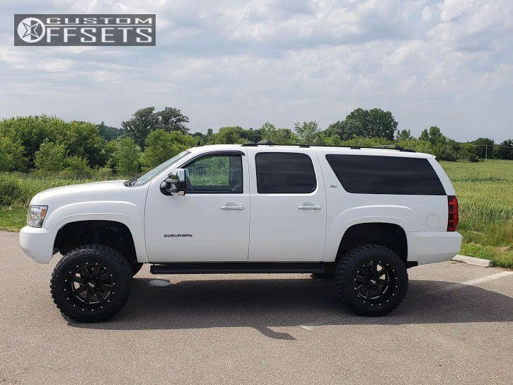 """2007 Chevrolet Suburban 1500 Hella Stance >5"""" on 20x12 -44 offset Moto Metal Mo962 and 35""""x12.5"""" Crosswind M/t on Suspension Lift 7.5"""" - Custom Offsets Gallery"""