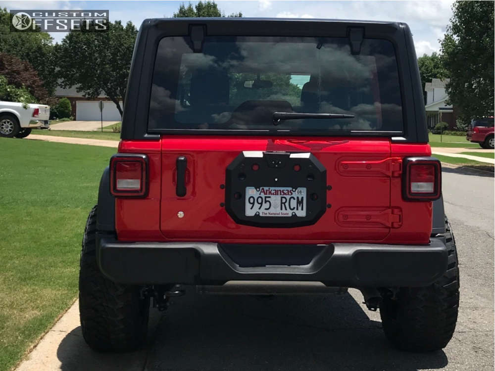 """2018 Jeep Wrangler Aggressive > 1"""" outside fender on 20x10 -19 offset Tuff T23 and 295""""x60"""" Kanati Mud Hog on Leveling Kit - Custom Offsets Gallery"""