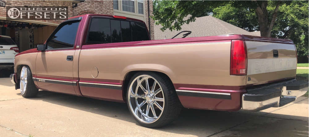 1996 Chevrolet C1500 Tucked on 22x11 1 offset Us Mags Rambler & 295/30 Nexen Roadian Hp on Lowered 4F / 6R - Custom Offsets Gallery