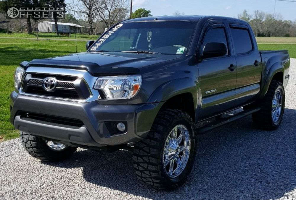 """2013 Toyota Tacoma Aggressive > 1"""" outside fender on 20x9 -12 offset Fuel Hostage and 33""""x12.5"""" Nitto Mud Grappler on Suspension Lift 3"""" - Custom Offsets Gallery"""