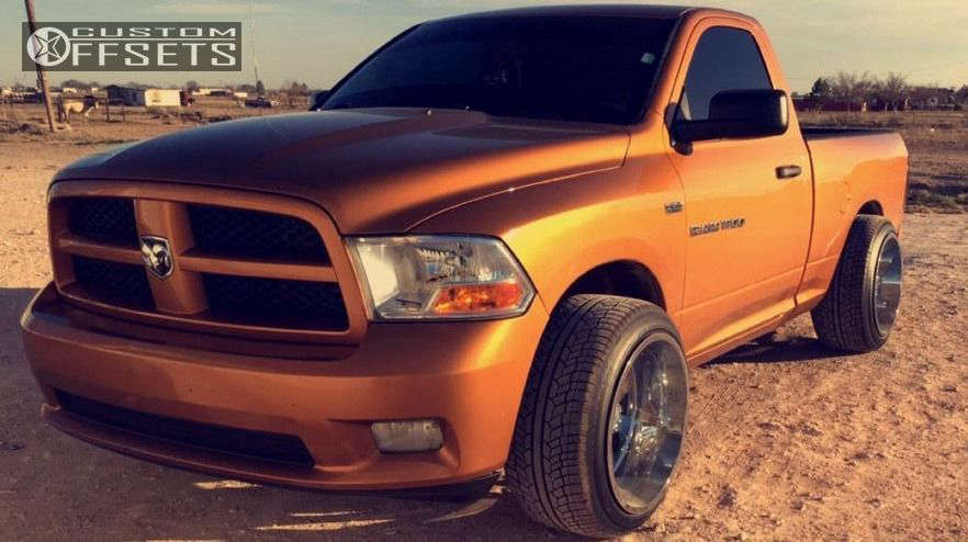 """2012 Ram 1500 Hella Stance >5"""" on 22x14 -76 offset Moto Metal MO962 & 305/40 Delinte D8 Desert Storm on Lowered on Springs - Custom Offsets Gallery"""