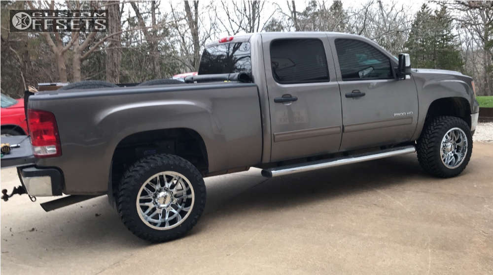 """2013 GMC Sierra 2500 HD Aggressive > 1"""" outside fender on 20x10 -25 offset Ultra Hunter and 33""""x12.5"""" Atturo Trail Blade Mt on Leveling Kit - Custom Offsets Gallery"""