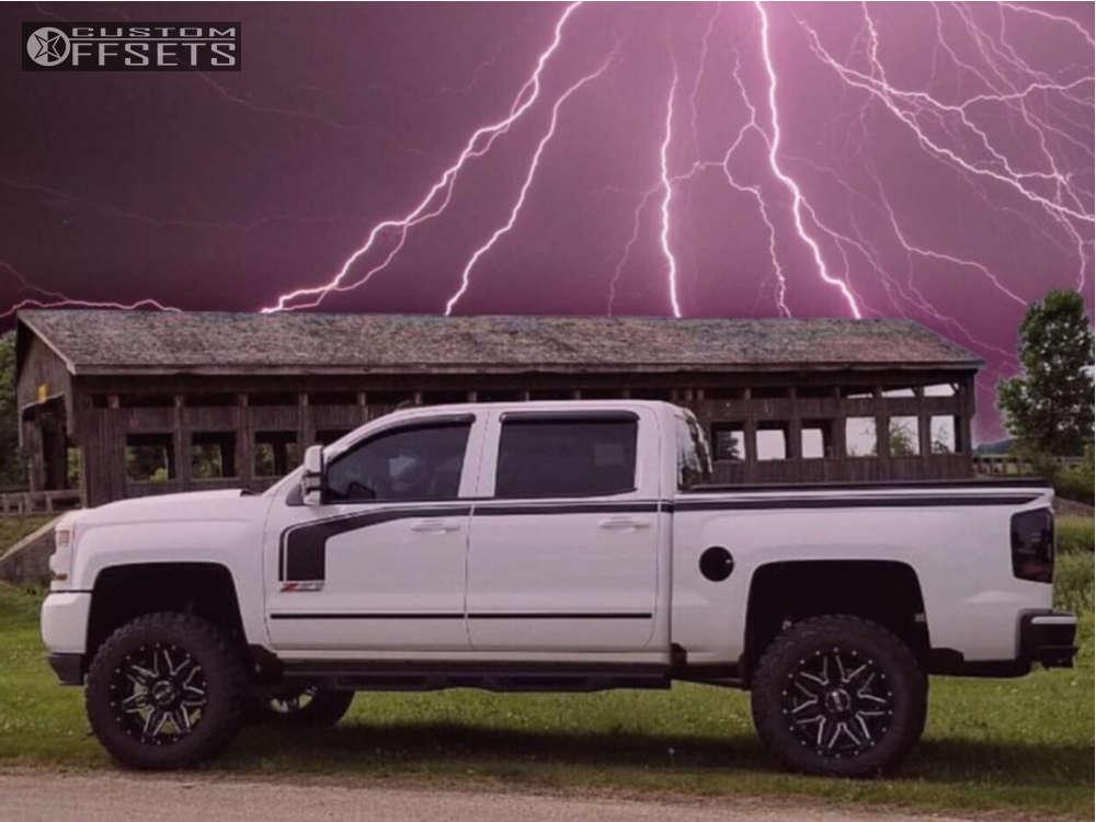 "2016 Chevrolet Silverado 1500 Slightly Aggressive on 20x10 -24 offset Bold Bd001 & 35""x12.5"" Kenda Klever MT on Suspension Lift 7"" - Custom Offsets Gallery"