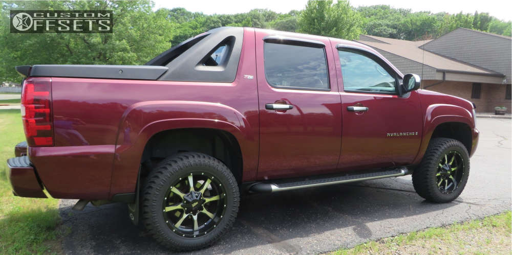 """2008 Chevrolet Avalanche 1500 Slightly Aggressive on 20x9 0 offset Moto Metal Mo970 & 285/55 Atturo Trail Blade Xt on Suspension Lift 3.5"""" - Custom Offsets Gallery"""