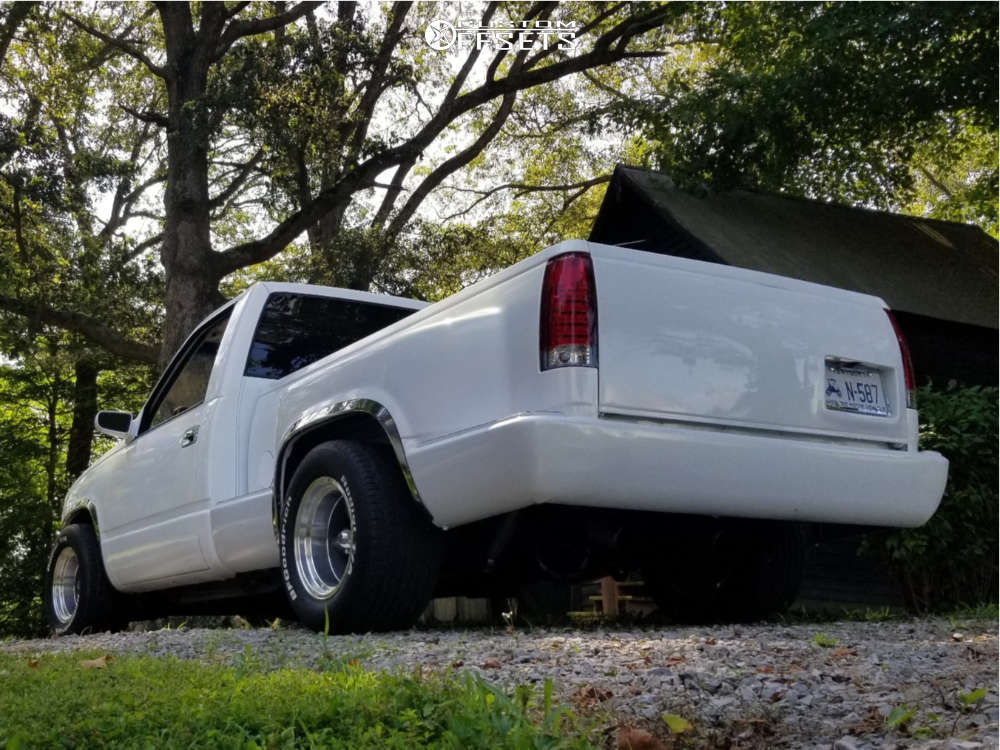 1991 Chevrolet C1500 Slightly Aggressive on 15x10 -44 offset American Racing Vintage Torq Thrust D and 295/50 BFGoodrich Radial T/a on Lowered 4F / 6R - Custom Offsets Gallery