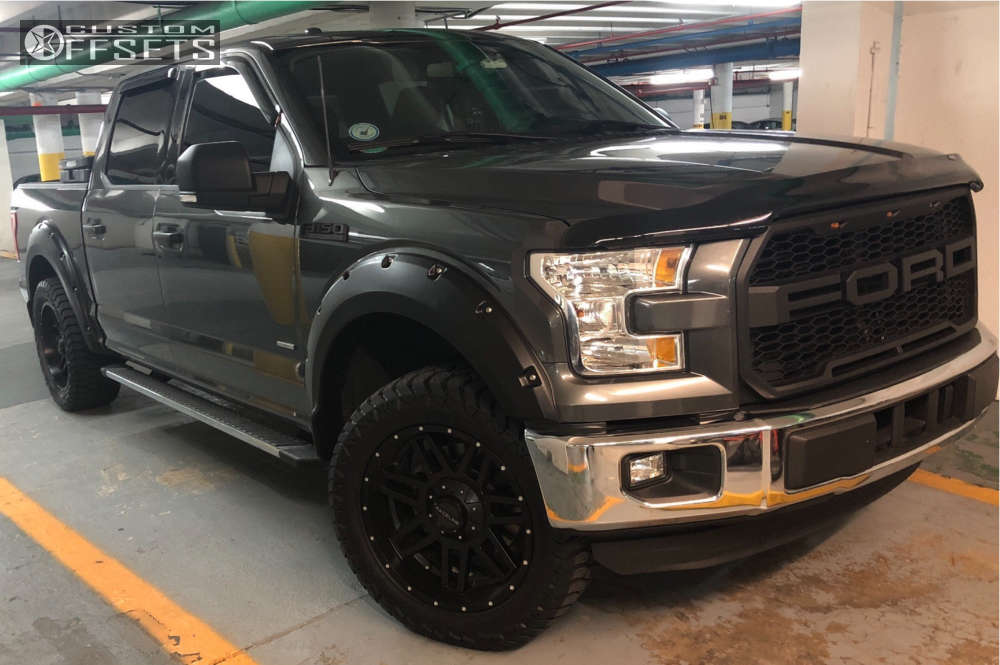 """2015 Ford F-150 Super Aggressive 3""""-5"""" on 20x9 -12 offset Raceline Injector & 305/55 AMP Terrain Gripper At G on Leveling Kit - Custom Offsets Gallery"""