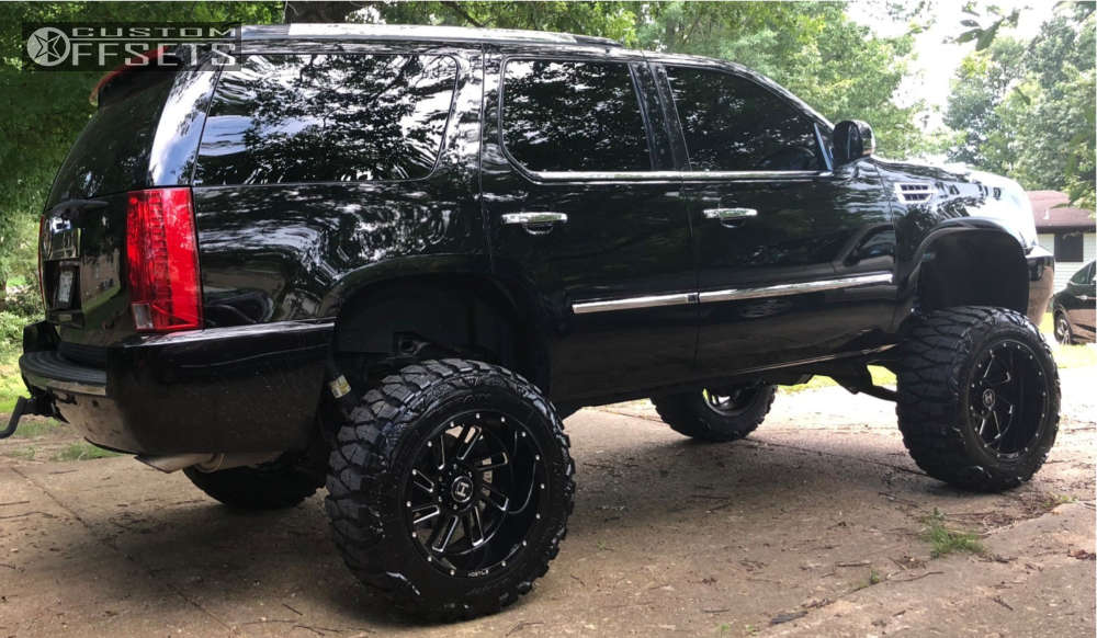 """2008 Cadillac Escalade Super Aggressive 3""""-5"""" on 20x12 -44 offset Hostile Stryker & 35""""x12.5"""" Nitto Mud Grappler on Suspension Lift 8"""" - Custom Offsets Gallery"""