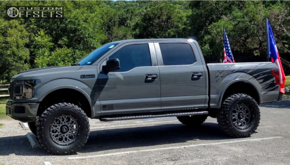 """2018 Ford F-150 Slightly Aggressive on 20x9 12 offset Vision Rocker and 37""""x12.5"""" Federal Couragia Mt on Suspension Lift 6"""" - Custom Offsets Gallery"""