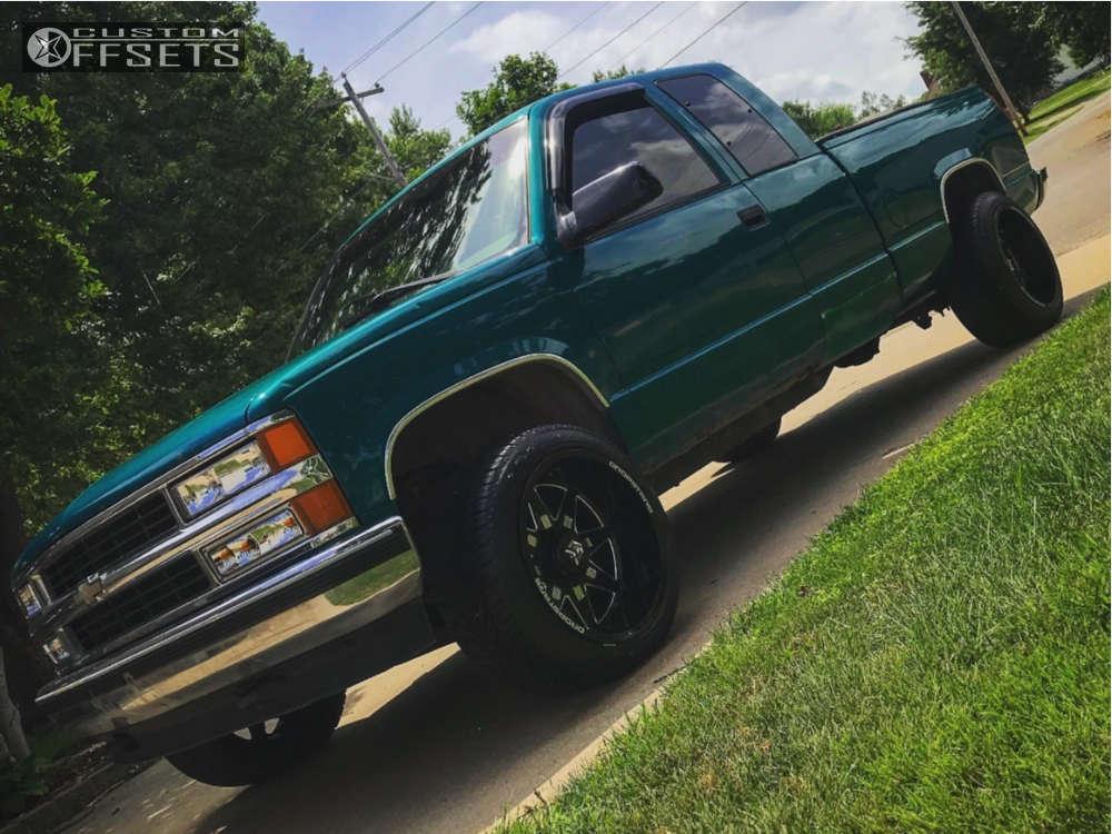 "1996 Chevrolet K1500 Super Aggressive 3""-5"" on 20x12 -44 offset Dropstars 655bm & 265/50 Atturo Az800 on Stock Suspension - Custom Offsets Gallery"