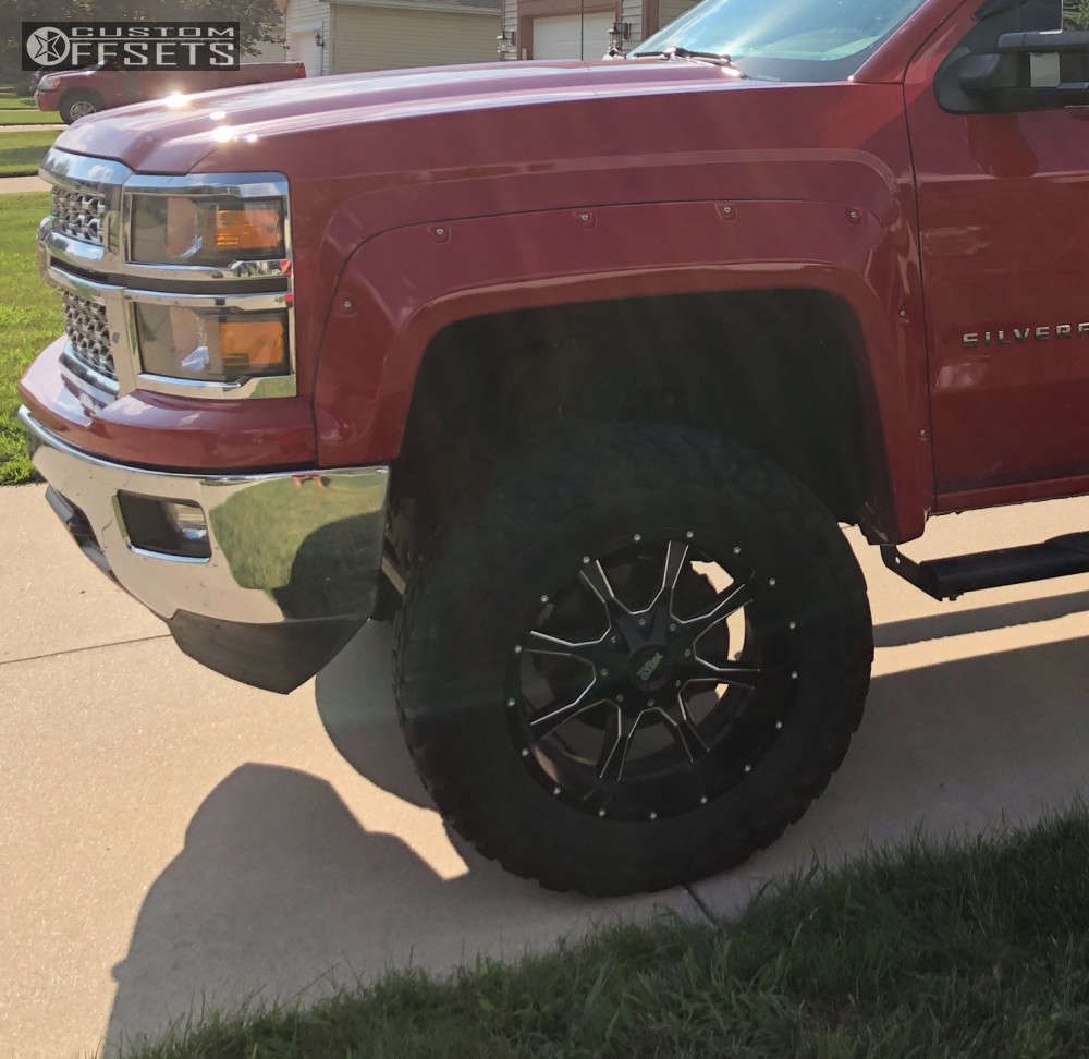 """2014 Chevrolet Silverado 1500 Aggressive > 1"""" outside fender on 20x10 -24 offset Moto Metal Mo970 & 35""""x12.5"""" Federal Couragia Mt on Suspension Lift 6"""" - Custom Offsets Gallery"""