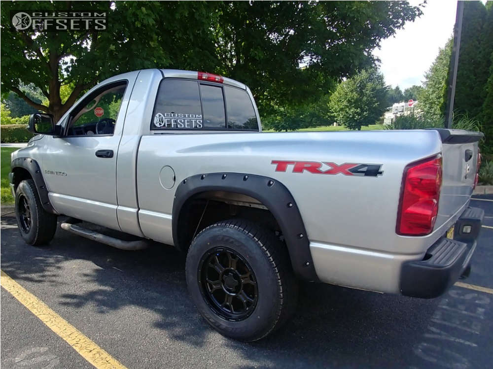"""2007 Dodge Ram 1500 Aggressive > 1"""" outside fender on 18x9.5 -12 offset Vision Raptor and 275/70 Atturo Trail Blade At on Stock Suspension - Custom Offsets Gallery"""