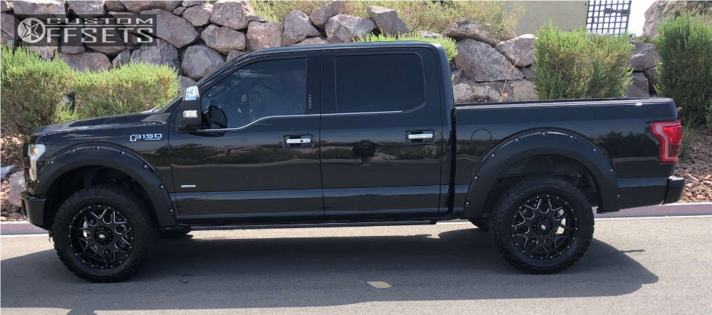"""2015 Ford F-150 Aggressive > 1"""" outside fender on 20x9 0 offset LRG 104 and 305""""x55"""" BFGoodrich All Terrain Ta Ko2 on Leveling Kit - Custom Offsets Gallery"""