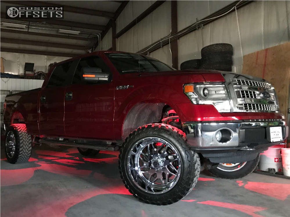 """2014 Ford F-150 Super Aggressive 3""""-5"""" on 22x12 -44 offset Xtreme Force Xf2 and 35""""x12.5"""" Toyo Tires Open Country M/T on Suspension Lift 6"""" - Custom Offsets Gallery"""