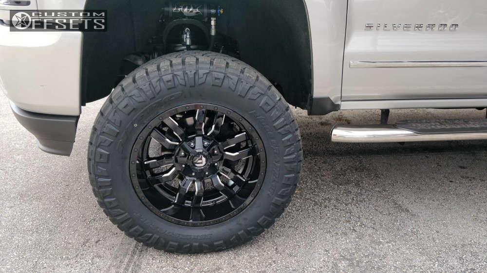 "2016 Chevrolet Silverado 1500 Aggressive > 1"" outside fender on 20x10 -18 offset Fuel Sledge & 35""x12.5"" Nitto Ridge Grappler on Suspension Lift 6"" - Custom Offsets Gallery"