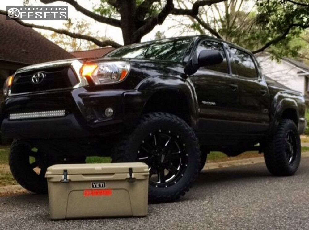 """2015 Toyota Tacoma Aggressive > 1"""" outside fender on 20x9 0 offset Moto Metal Mo962 and 35""""x12.5"""" Mastercraft Courser MXT on Suspension Lift 6"""" - Custom Offsets Gallery"""