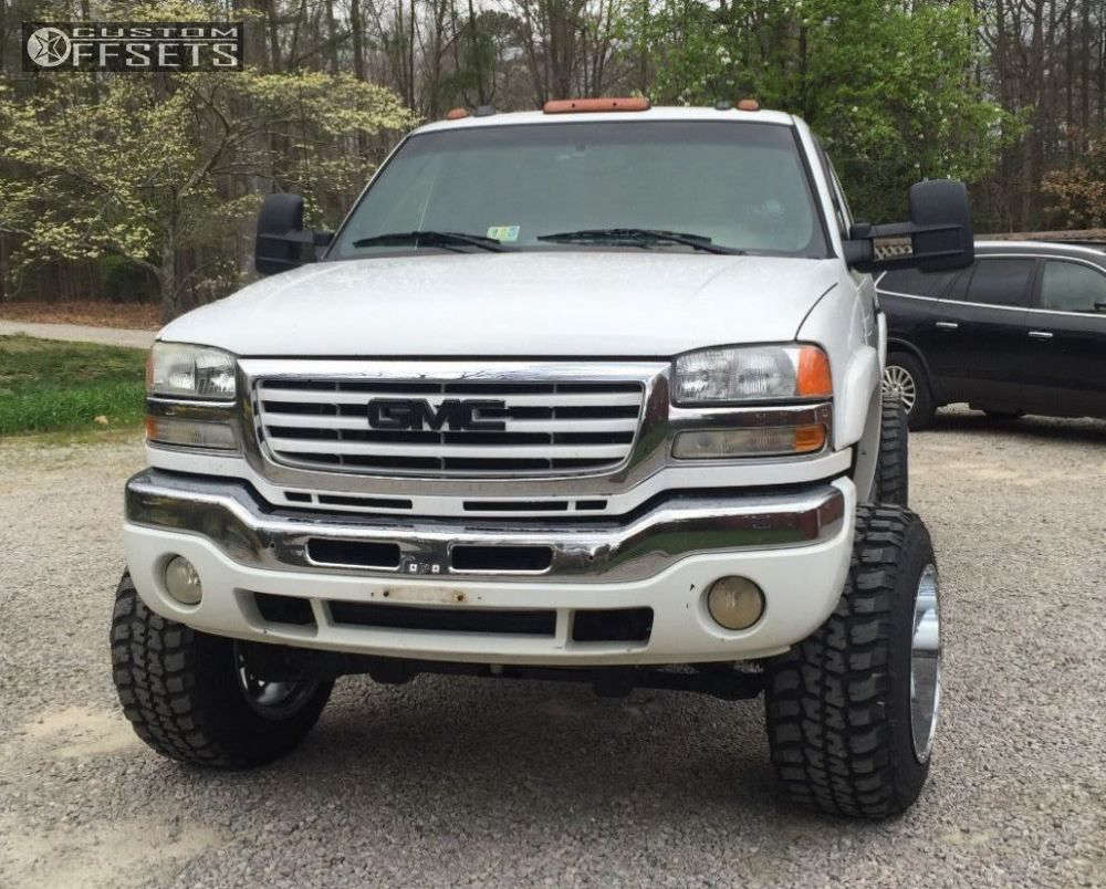 """2005 GMC Sierra 2500 HD Super Aggressive 3""""-5"""" on 20x14 -76 offset Fuel Hostage and 35""""x12.5"""" Federal Couragia MT on Suspension Lift 7.5"""" - Custom Offsets Gallery"""