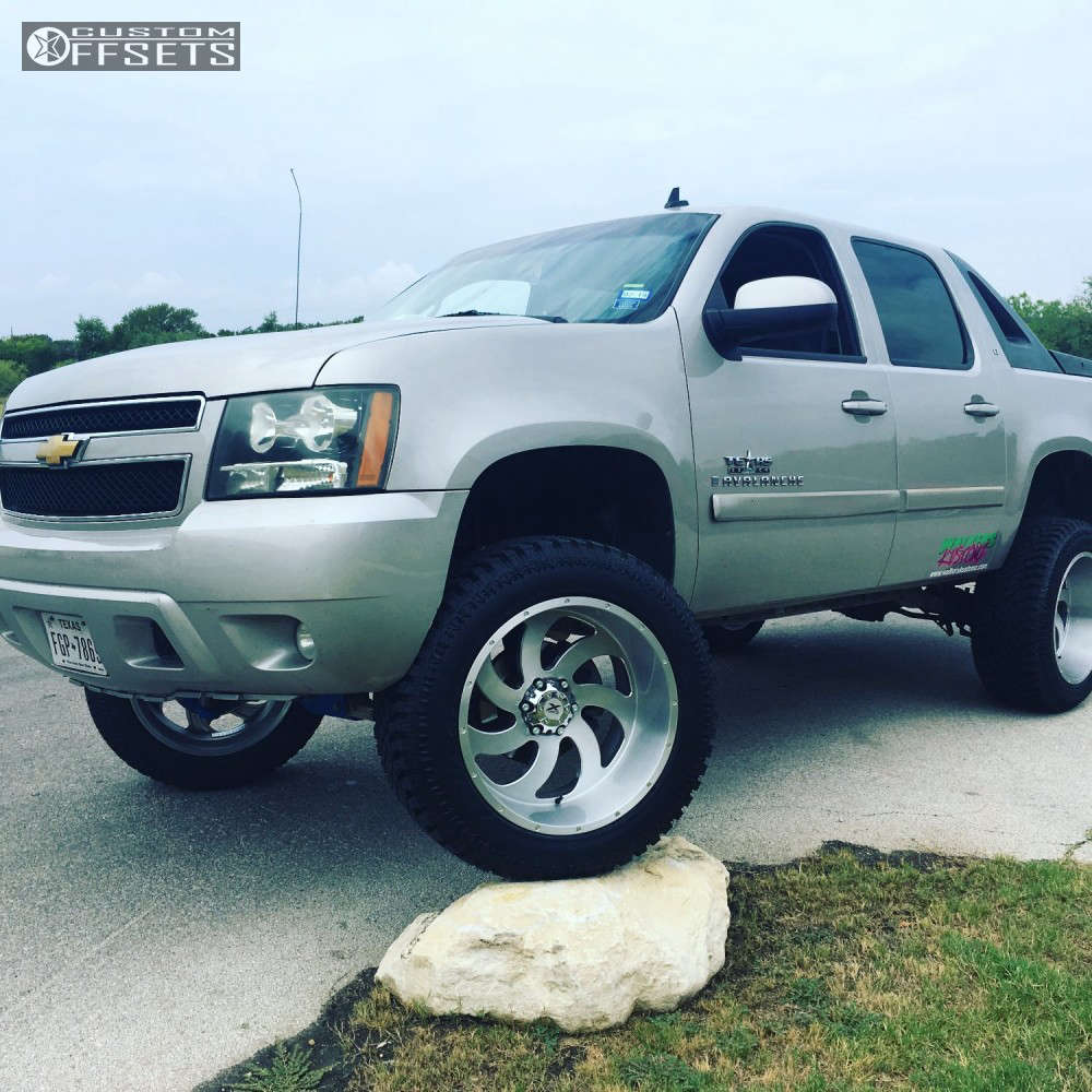 """2008 Chevrolet Avalanche Super Aggressive 3""""-5"""" on 22x12 -44 offset Xtreme Force Xf1 & 325/50 Atturo Trail Blade Xt on Suspension Lift 7.5"""" - Custom Offsets Gallery"""