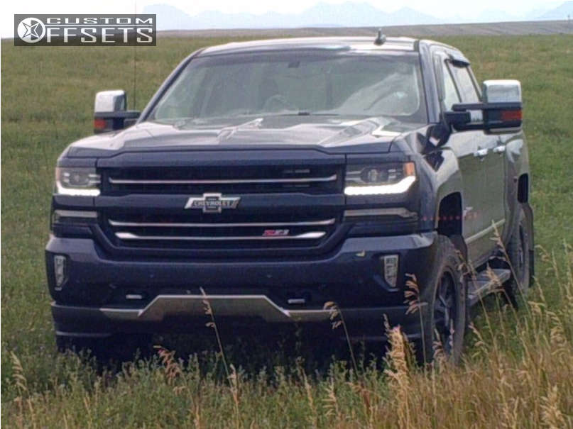 """2018 Chevrolet Silverado 1500 HellaFlush on 18x9 18 offset Moto Metal Mo984 & 275/70 Toyo Tires Open Country A/t Ii on Suspension Lift 3.5"""" - Custom Offsets Gallery"""