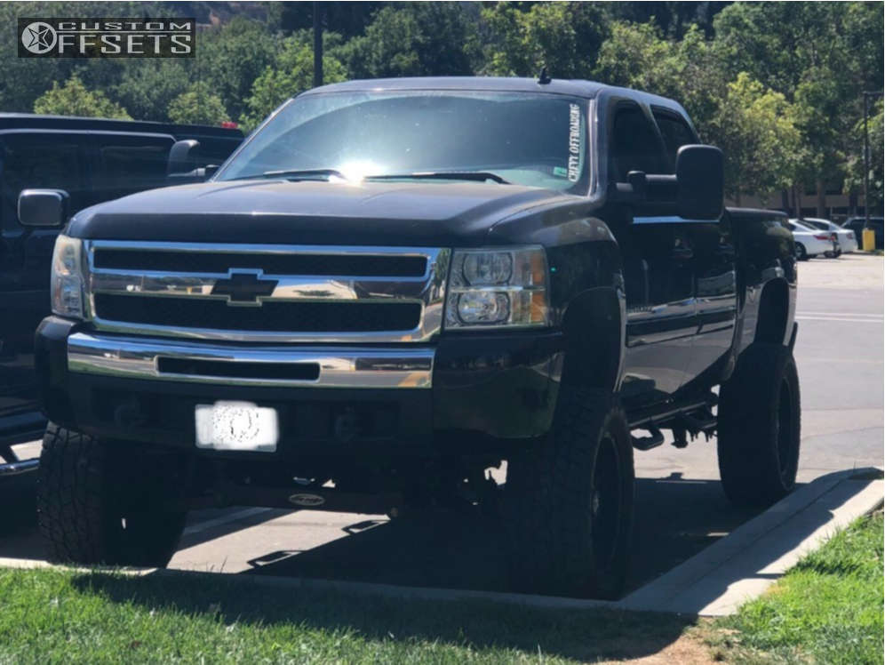 """2010 Chevrolet Silverado 1500 Aggressive > 1"""" outside fender on 20x9 0 offset Raceline Octane & 35""""x12.5"""" Toyo Tires Open Country A/t Ii on Suspension Lift 6"""" & Body 3"""" - Custom Offsets Gallery"""