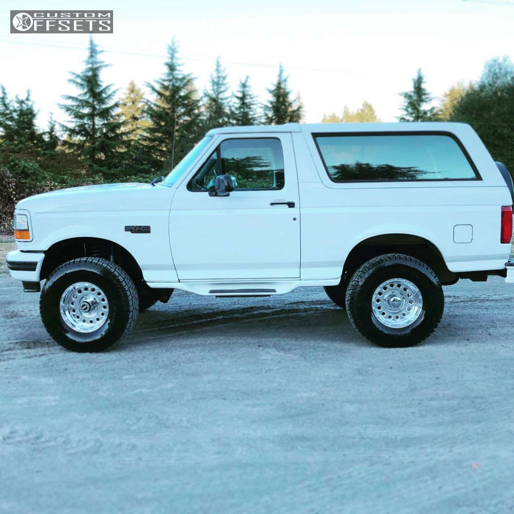 """1994 Ford Bronco Flush on 16x8 -20 offset Raceline Rockcrusher & 295/75 Back Country A/t on Suspension Lift 4"""" - Custom Offsets Gallery"""